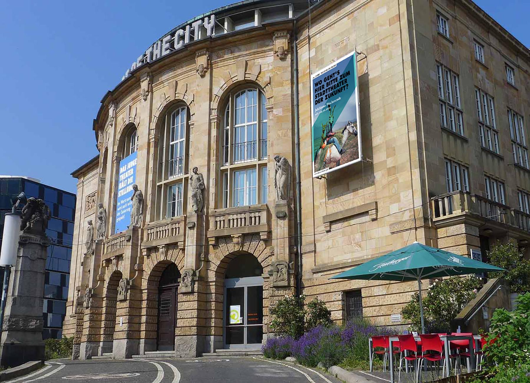 Theater Freiburg Beschriftung Aussenfassade