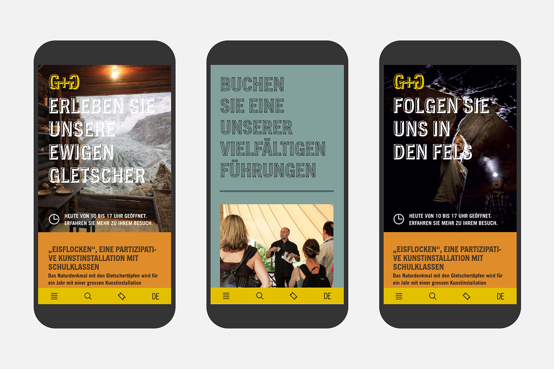 Gletschergarten Luzern Web UX Mobile