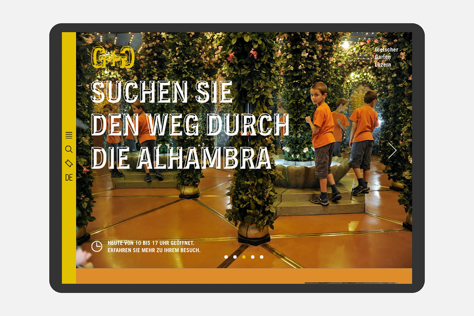 Gletschergarten Luzern Web UX Tablet