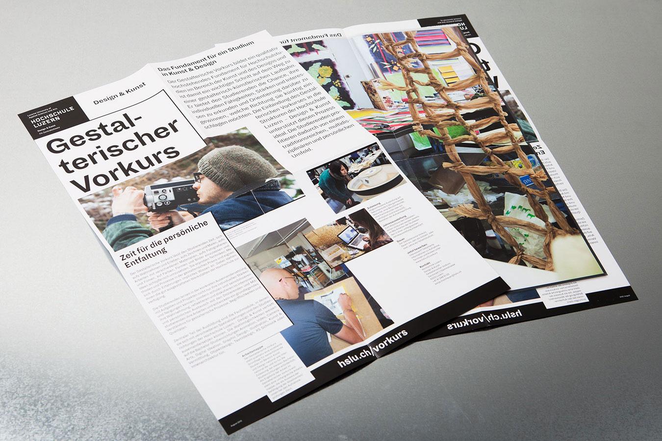 Hochschule Luzern Design und Kunst Angebotsflyer Corporate Publishing