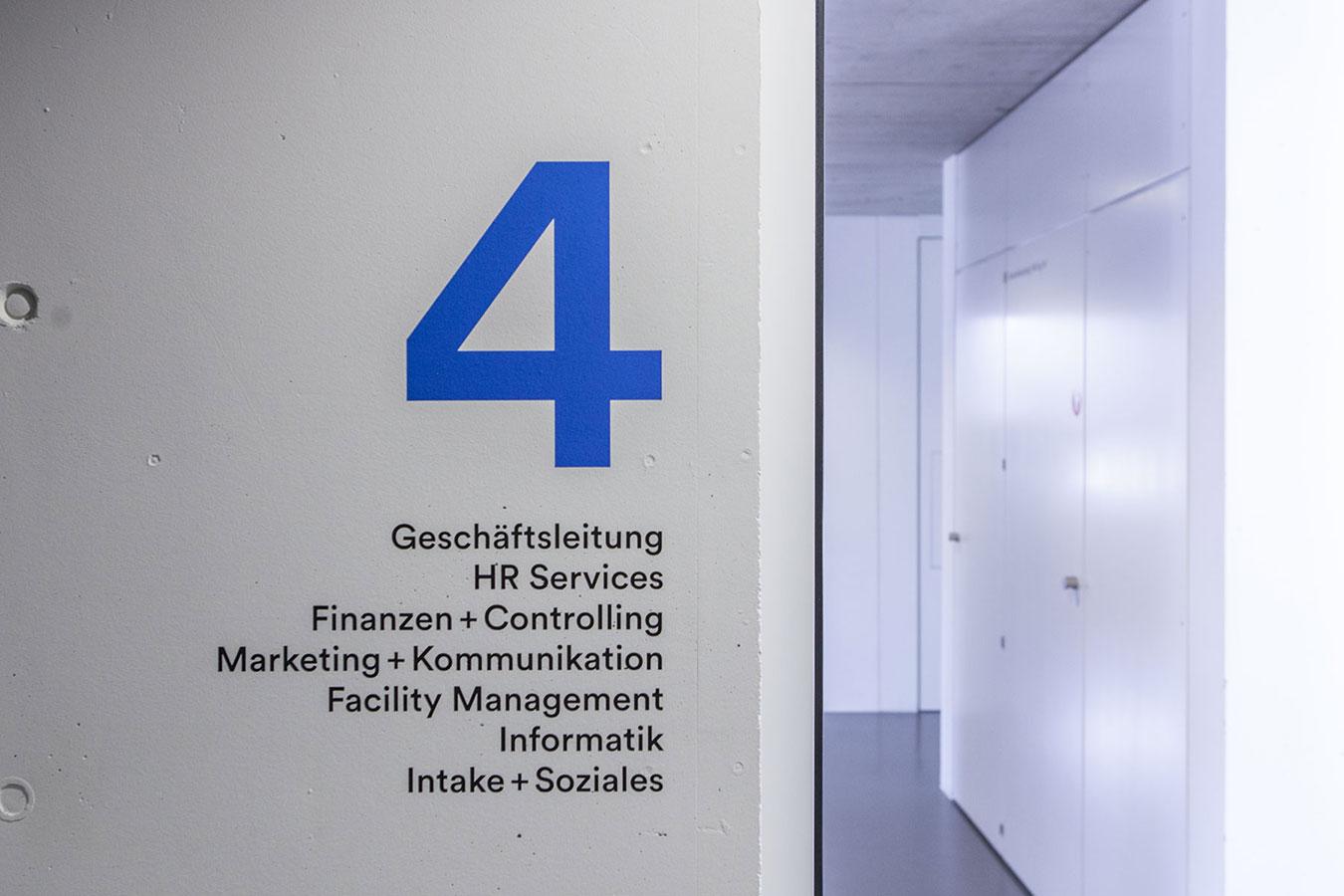 IG Arbeit Signaletik Innen Hauptsitz Unterlachenstrasse