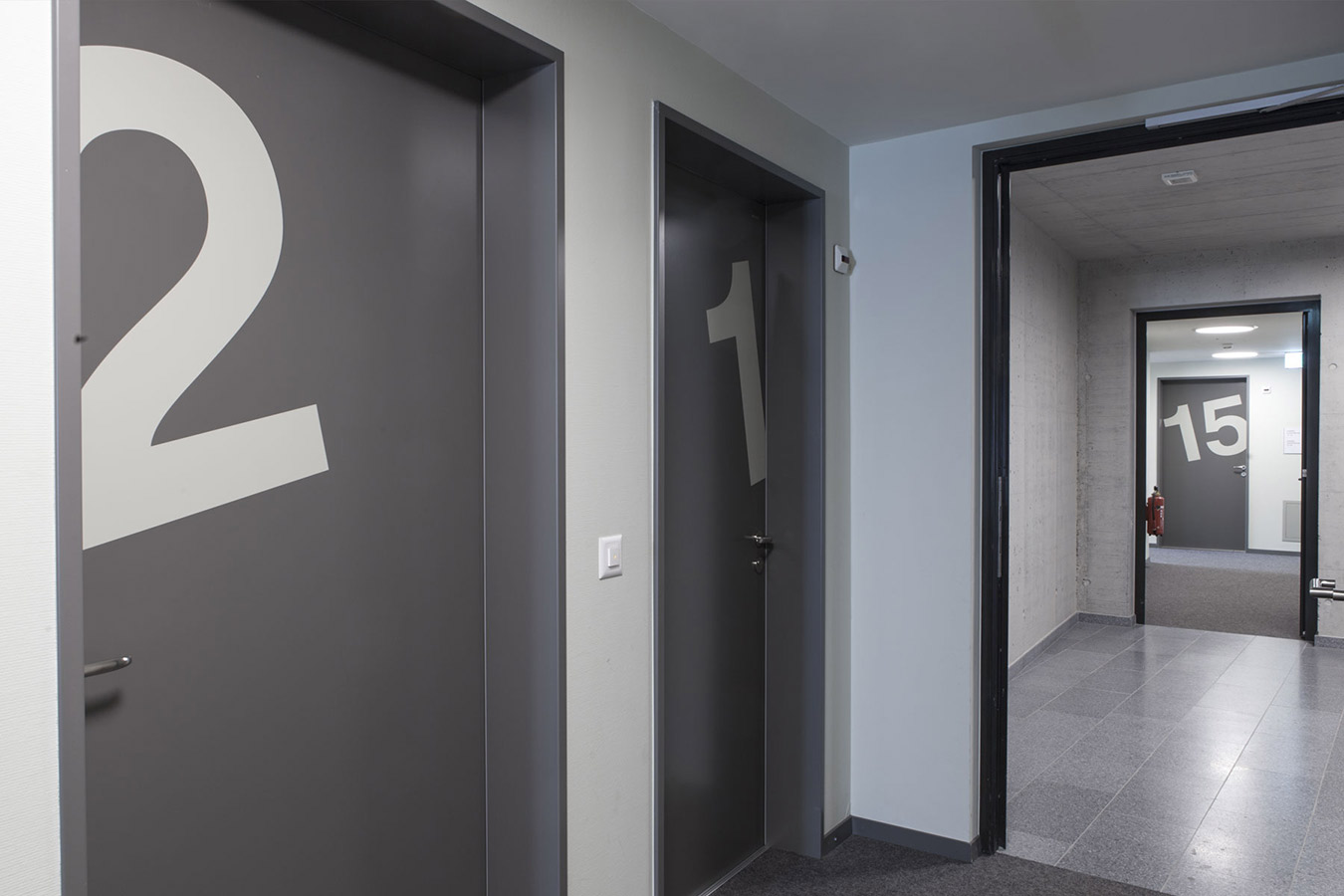 Hunziker Areal Signaletik Innen Treppenhaus