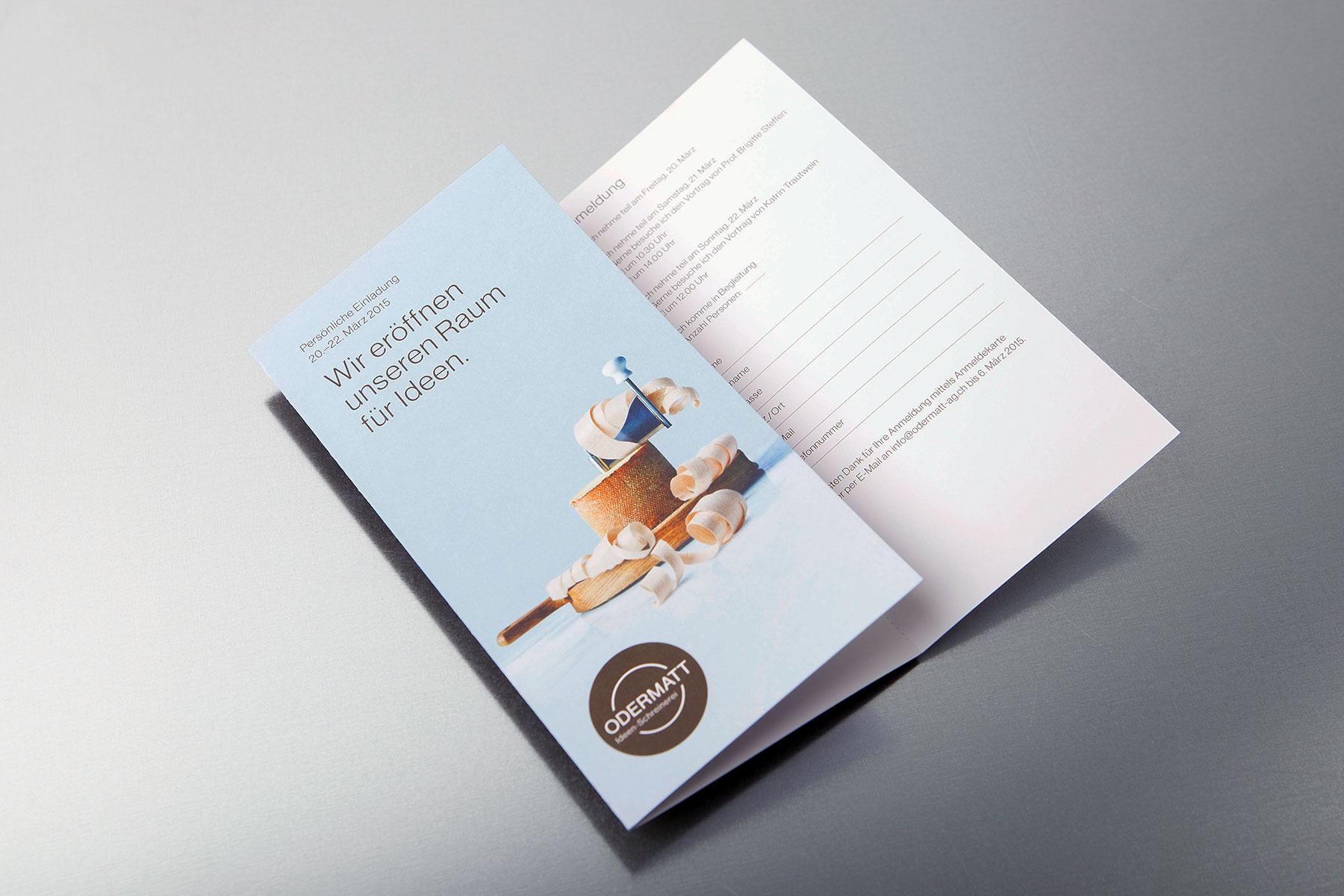 Odermatt Ideenschreinerei Einladung Flyer