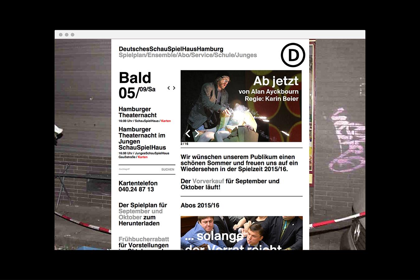 Deutsches Schauspielhaus Hamburg Webseite Home Branding