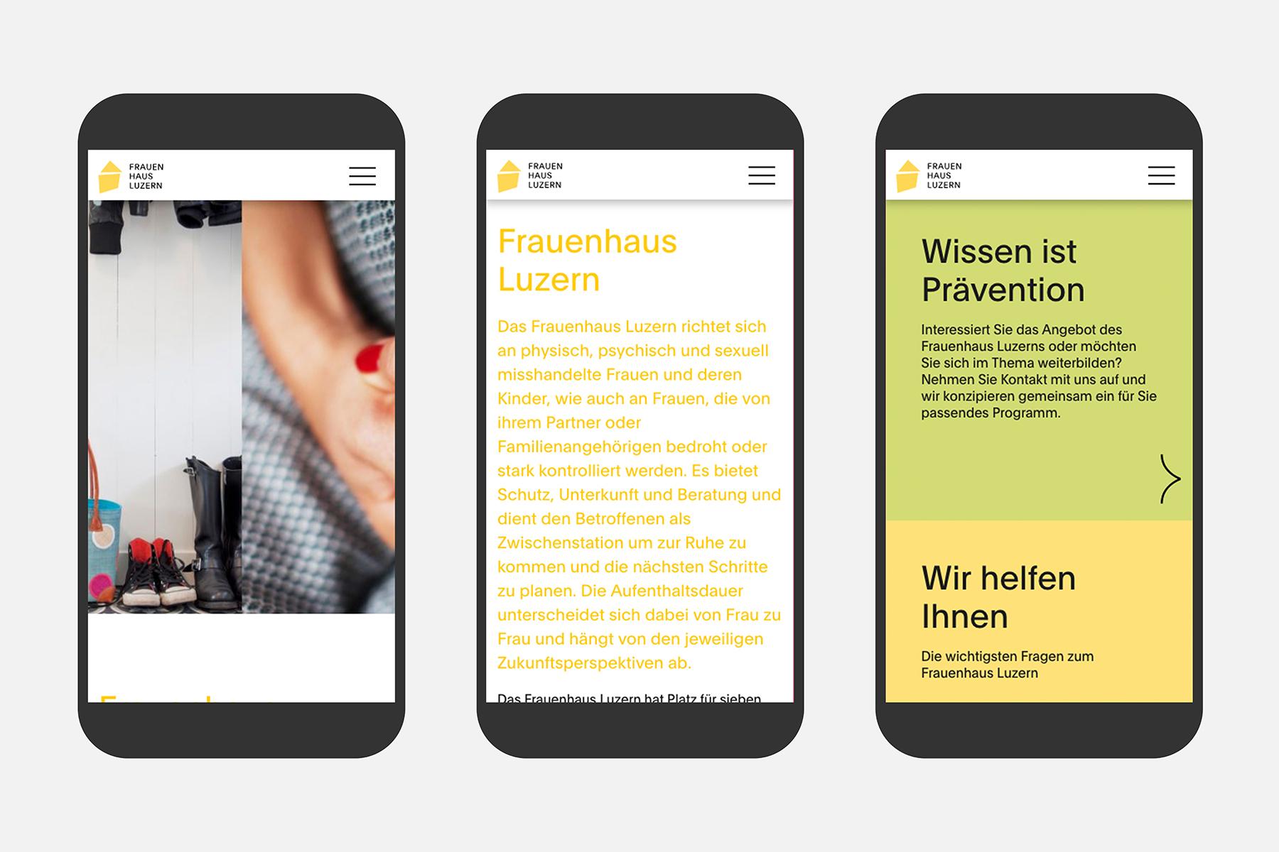 Frauenhaus Luzern Web Usability Smartphone UX