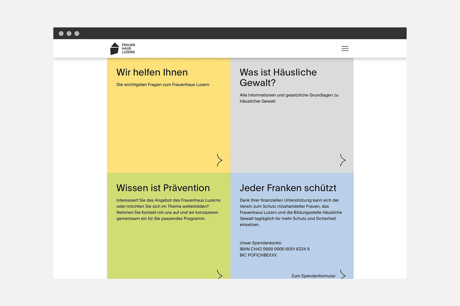 Frauenhaus Luzern Web Usability Desktop