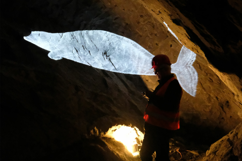 Gletschergarten Szenografie Felsgang Projektionen Lichtinstallationen