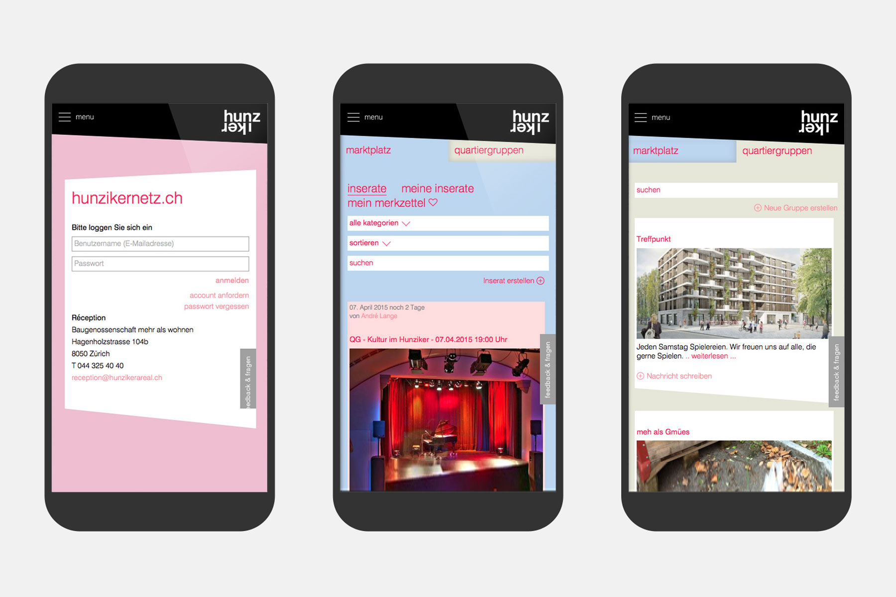 Hunziker Areal Intranet Mobile UX