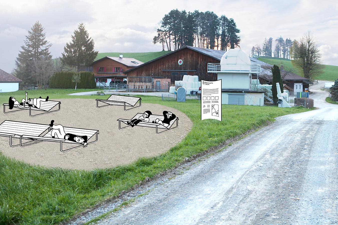 Sternwarte Uecht Aussenplatz Liegen Visualisierung