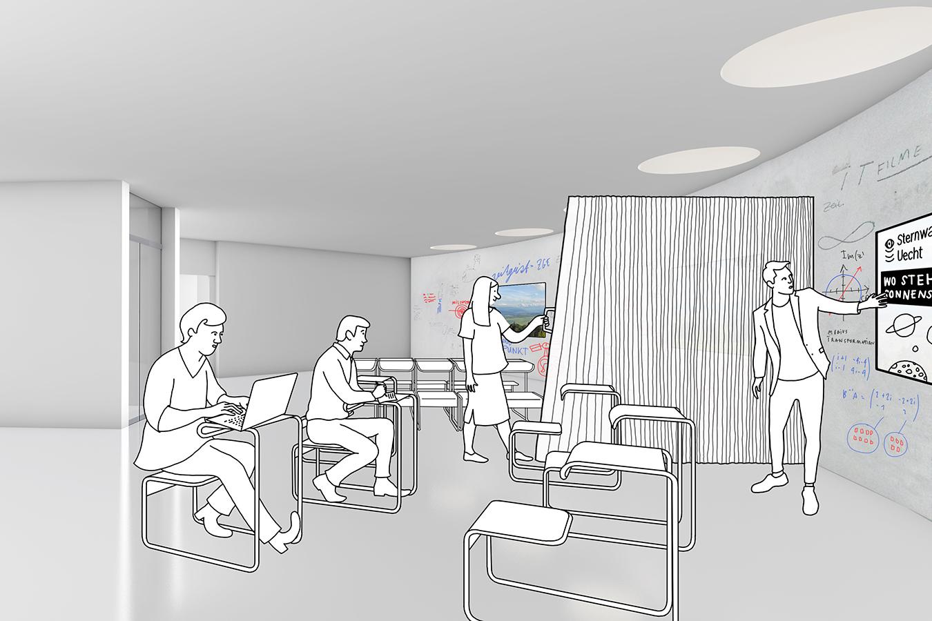 Neue Sternwarte Uecht Ausstellung und Workspace Visualisierung