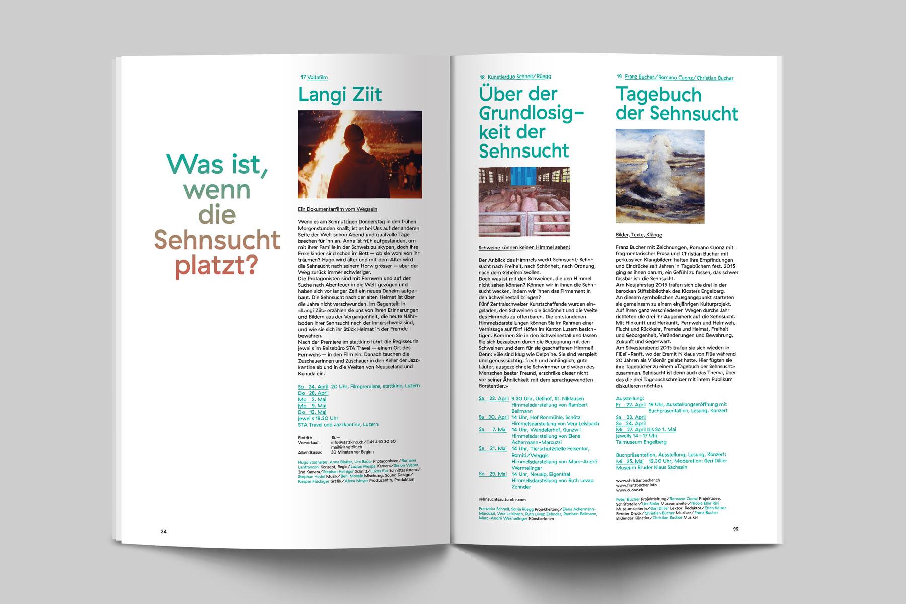 Albert Köchlin Stiftung Sehnsucht Editorial Broschüre