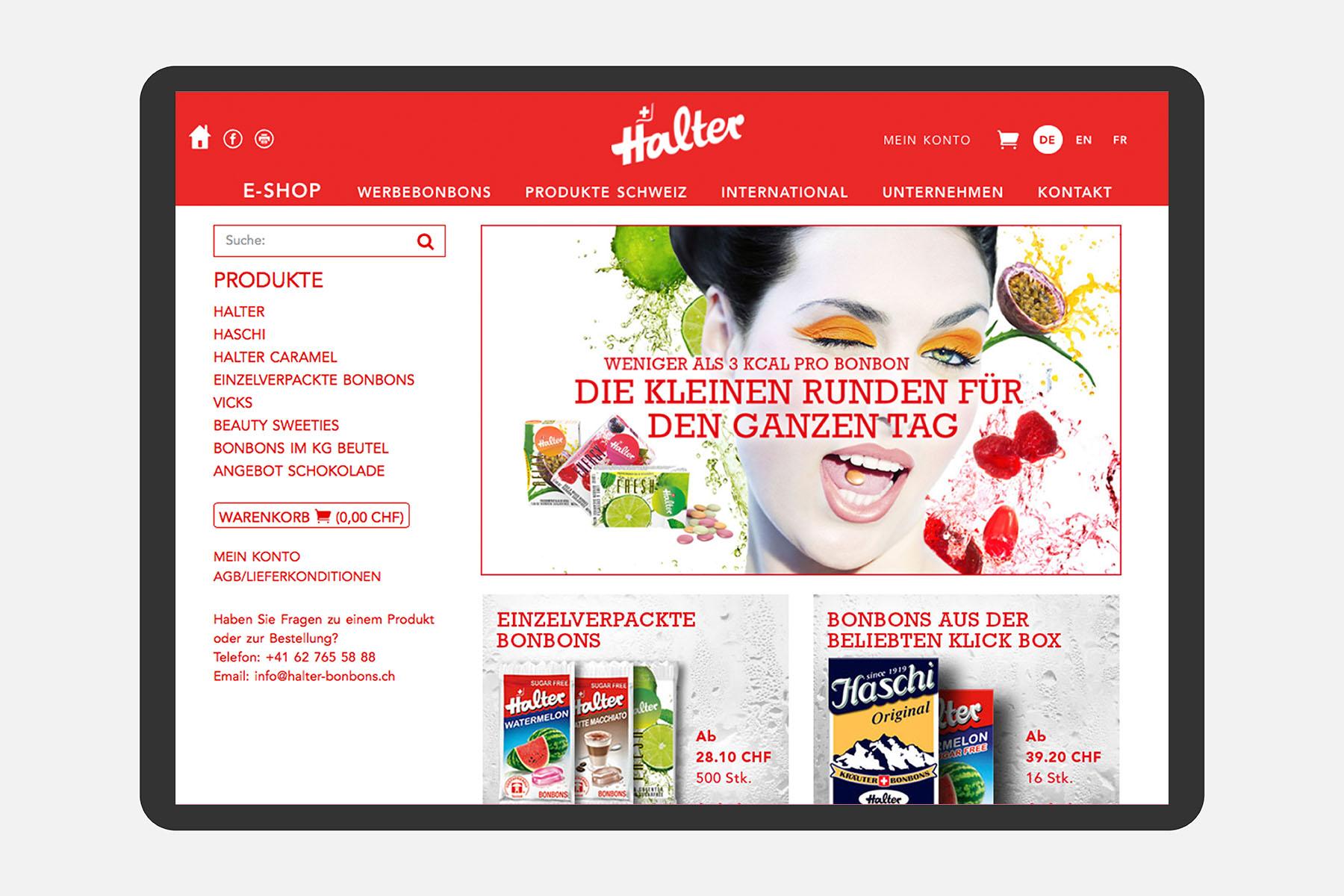 Halter Bonbons Web Tablet Ux Webshop