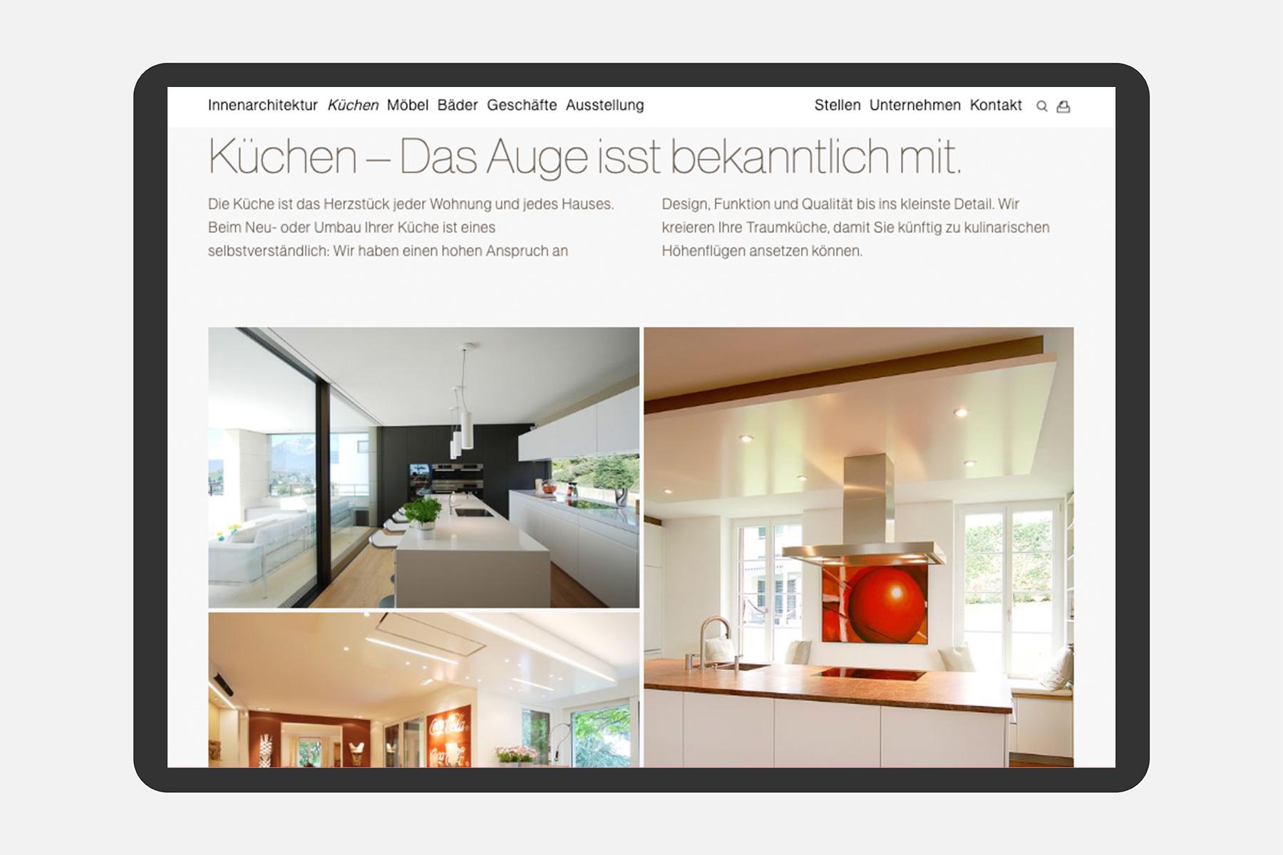 Ideenschreinerei Odermatt Webseite Tablet