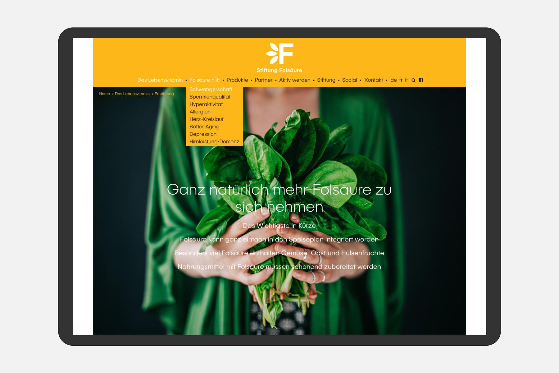 Stiftung Folsäure Webseite